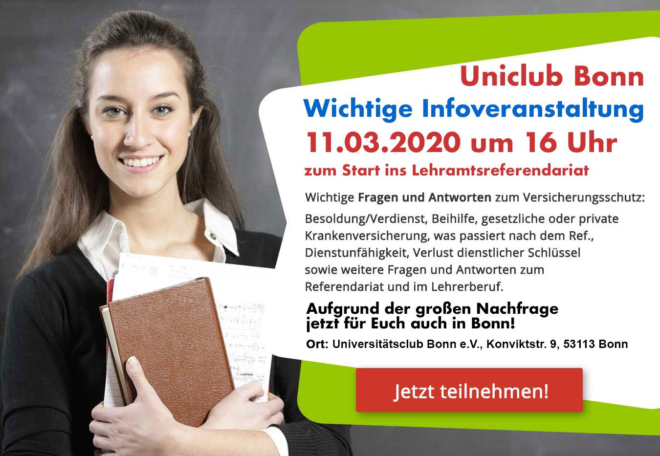 Pflichtveranstaltung Zum Start Ins Lehramtsreferendariat Am 11.03.2020 Um 16 Uhr In Bonn